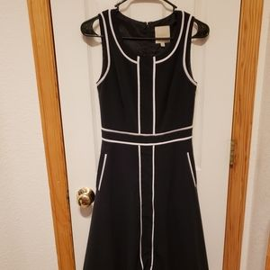 Navy and white midi Modcloth dress with pockets